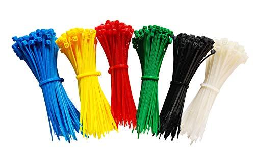 600 Stück Kabelbinder je 100 Stück in blau rot grün gelb weiß schwarz Set 100 mm x 2,5 mm Handwerker Qualität cable ties kurz 8,1kg Zugkraft Sortiment