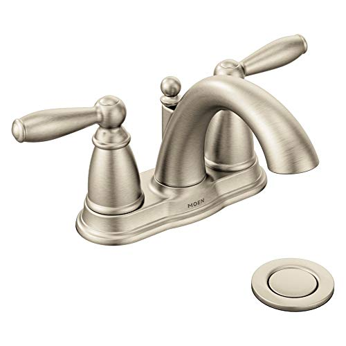 Moen 6610BN Brantford Two-Handle Low-Arc Centerset Bathroom Faucet with Drain Assembly, Brushed Nickel