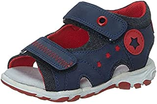 Skippy Velcro Closure Open Toe Sandals for Boys - Navy and Red, 27 EU