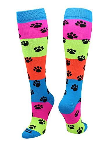 TCK Neon Rainbow Fun Print OTC Socks (Paw Print, Small)