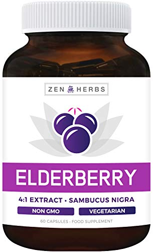 Elderberry 4:1 Extract Capsules (Non-GMO) Equivalent to 2,000mg Fresh Sambucus Black Elderberry - Immune Booster, Sinus Support & Allergy Relief Supplement - 60 Vegetarian Capsules (No Pills or Syrup)