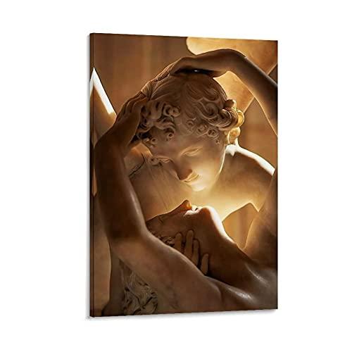 Póster de Antonio Canova con el alma revivió por el beso del amor de Antonio Canova Pintura decorativa para pared de 20 x 30 cm