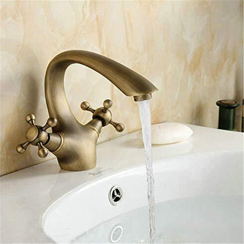 Badkamer-basin kraan messing mengkraan antieke kraan dubbele handgreep met mengsel van warm en koud water van de ventilator.