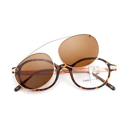 XJAXY Leesbril dual-use Photochromism zonnebril HD multi-focal ronde glazen, Anti-blauwe lezer lente scharnier bril voor mannen en vrouwen