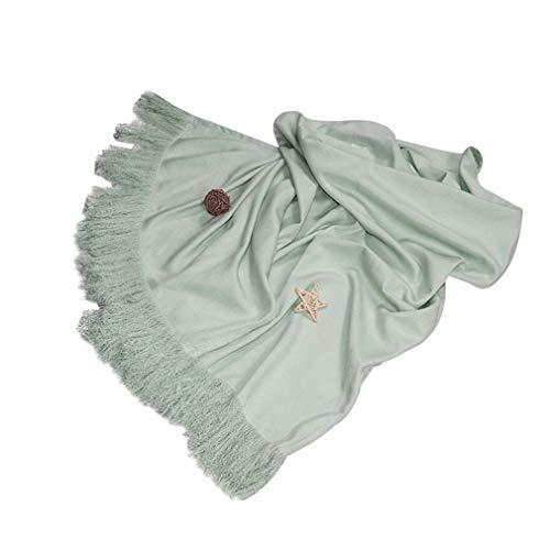Best Prices! YU-CZB Extra Soft Light Throw/Blanket - 100% Acrylic,Light Green Light Luxury Tassel Be...
