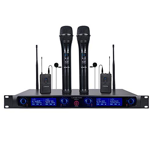 Sound Town 4 Channels Professional UHF Wireless Microphone System with Rack Mountable Metal...