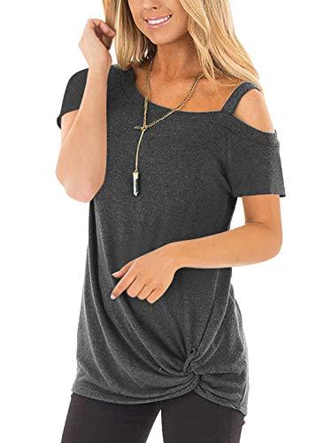 Beluring Bluse Frauen Sommer Tops Off-Shoulder T-Shirt Lose Bluse Oberteile Dunkelgrau XL