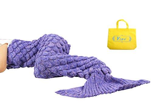 Yier® - Coperta a forma di coda di sirena, a uncinetto, per adulti e ragazzi, per soggiorno, camera da letto, divano, super morbida, sacco a pelo, Microfibra, Purple, 180_x_90_cm