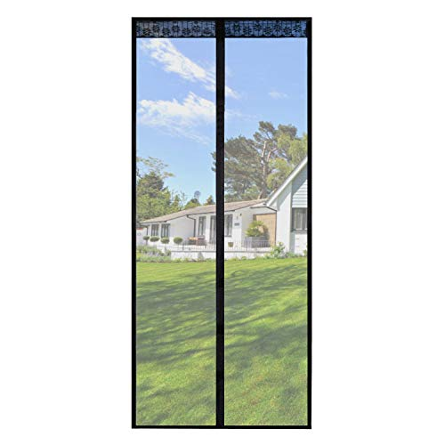 Magnetic Screen Door 35x82 InchesScreen Doors with Magnets Heavy Duty Mesh Curtain Full Frame HookampLoopfor Front Door Apartments and MoreHands FreeAnti Mosquito BugsPet and Kid Entry Friendly
