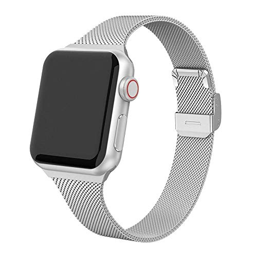 Hspcam Correa milanesa para Apple Watch 44 mm 40mm iWatch banda 42mm/38mm silm acero inoxidable pulsera Apple Watch Series 4 3 5 SE 6 (38 mm, plata)