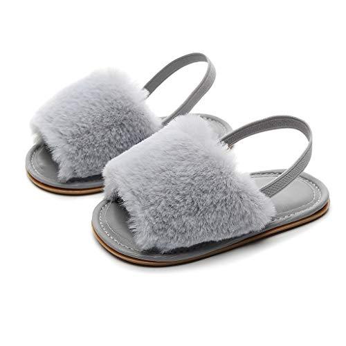 Newborn Baby Girls Faux Fur Soft Sole Anti-Slip Flat Sandal Slipper Shoes with Elastic Back Strap by Chaofanjiancai