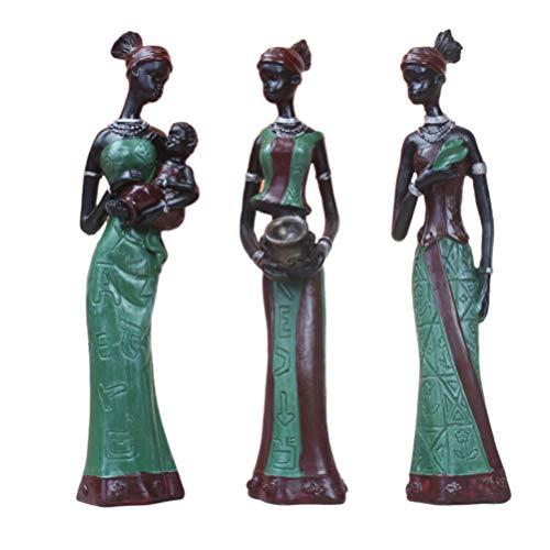 Artibetter Afrikanische Frauen Statuen Figuren Harzfigur Elegante Skulptur Tischverzierung für Home Office Dekorationen 3 Stücke (Grün)