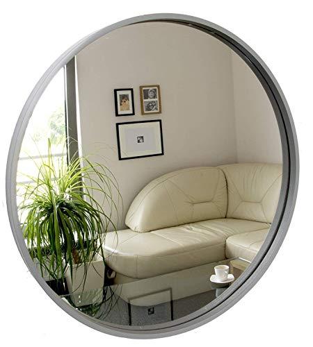 BD ART Rund Spiegel, Wandspiegel, 50cm Durchmesser, Holz, Grau