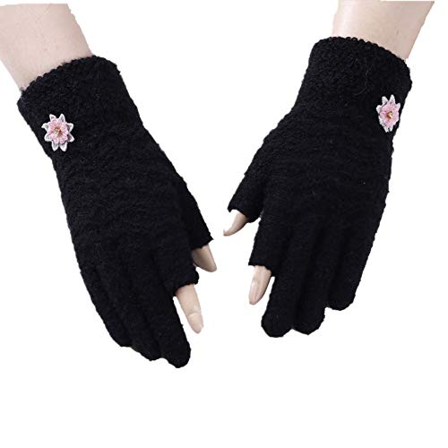 Creative Cashmere Gloves Thick Warm Full Fingerless Winter Autumn Mittens Sports Ski Snowboard Camping Walking Cycling Outdoor Thermal Touch Gloves for iPhone Samsung Tablet Kindle - Black - One Size