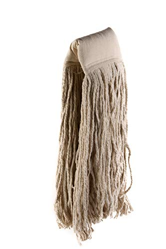 [1 PACK] EcoQuality Commercial Mop Head #32, 32oz Mop Head Blended Yarn - X-Large For Commercial And Industrial Use | Cotton Mop Head Replacement | 32 Ounce (White)