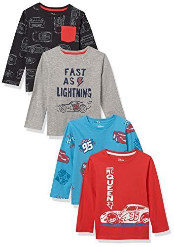 Spotted Zebra Boys' Toddler Disney Star Wars Marvel Long-Sleeve T-Shirts, 4-Pack Cars Lightening McQueen, 4T