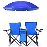 Goplus Double Folding Picnic Chairs w/Umbrella Mini Table Beverage Holder...