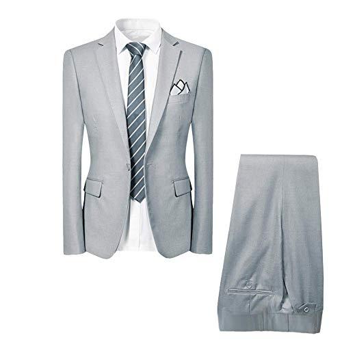 Allthemen Hochzeitsanzug Herren Anzug Slim Fit Herrenanzug Anzüge für Hochzeit Business Party Hellgrau 2XL