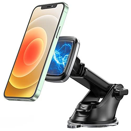 Bovon Handyhalterung Auto Magnet, 360° Rotation KFZ Smartphone Halterung mit Saugnapf & Teleskoparm, Armaturenbrett Windschutzscheibe Handyhalter fürs Auto, Kompatibel mit iPhone 12 Pro Max, 12 Mini