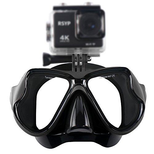 RSYP Gafas Buceo Máscaras de Buceo de cristal revestida para Submarinismo y Snorkel Compatible con cámara deportiva (Negro)