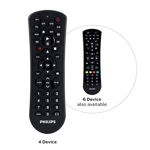 Philips Universal Remote Control for Samsung, Vizio, LG, Sony, Sharp, Roku, Apple TV, RCA, Panasonic, Smart TVs, Streaming Players, Blu-ray, DVD, Simple Setup, 4-Device, Black, SRP9141A/27
