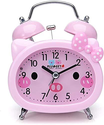 QAZWSX Campana mecánica Reloj Despertador de Noche de Escritorio en Silencio Que no es de tictac, Reloj de Alarma de Campana for niños, Lindo, luz de Fondo, operado por batería (Rosa) Multifuncional