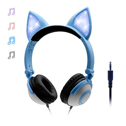 ONTA Kopfhörer Kinder mit niedlichen LED Leuchtenden Katzenohren 85dB Volume Lautstärke begrenzt Faltbar Verstellbare On Ear Kinder Kopfhörer für Jungen und Mädchen (Blau)