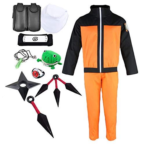 LCXYYY Naruto Shippuden Uzumaki Traje para Adolescentes Adultos Naruto - Disfraz de Uzumaki con Pantalones y Chaqueta