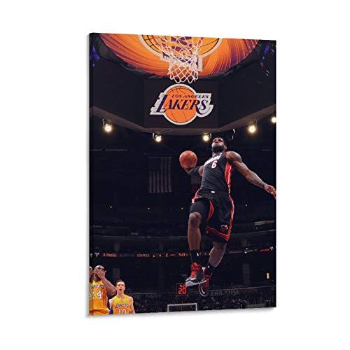 NQSB Póster artístico del Campeonato de Baloncesto de LeBron James 9 y póster de pared moderno para decoración de dormitorio familiar de 30 x 45 cm