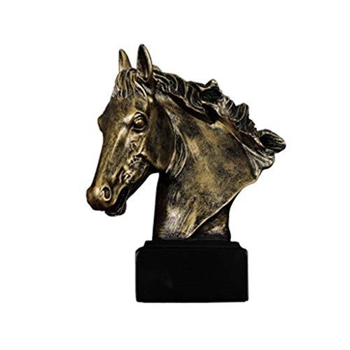 ZLBYB Gran Resina de Bronce Antiguo Acabado Cabeza de Caballo Busto Estatua...
