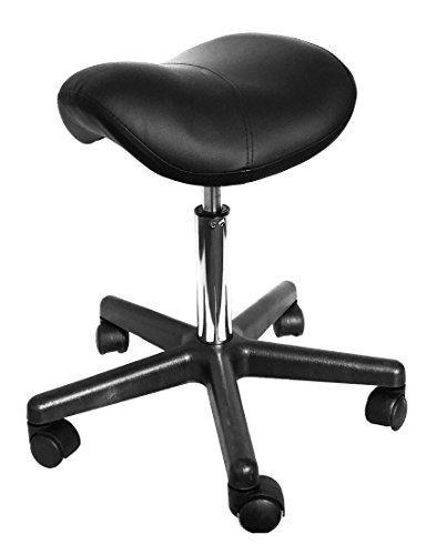Angel USA Hydraulic Saddle Massage Stool Ergonomic Comfortable Rolling Adjustable Salon Swivel Saddle Seat (Black)