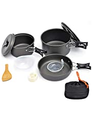 Bebiwa キャンプクッカー クッカーセット アウトドア調理器具 セット アルミクッカー 登山用鍋 BBQ食器 ポータブル キャンピング鍋 収納袋付き