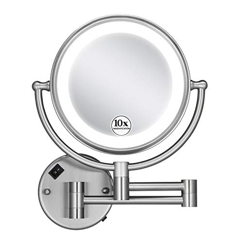 GloRiastar 10X Wall Mounted Makeup Mirror - Double Sided Magnifying for Bathroom, -