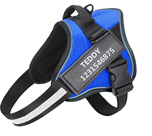 Personalized Dog Harness,Adjustable Custom Pet Dog Vest with Name and Phone Number, No-Pull Service Dog Harness with Handle,3M Reflective True Harness for Small,Medium,Large Dogs Personalized