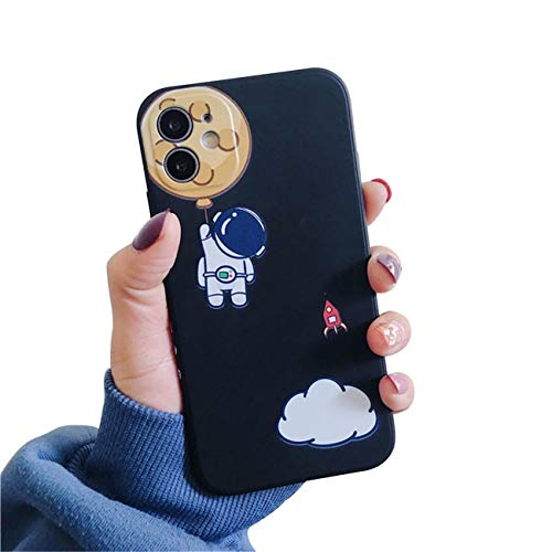 Hadwii Carcasa para iPhone 11 con patrón Lateral de Silicona líquida, Color Negro, Ultrafina, Creativa, con Dibujos Animados, TPU Suave, Resistente a los Golpes, para iPhone 11, diseño de Astronauta