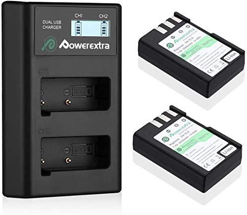 Powerextra - 2 baterías de repuesto para Nikon EN-EL9 EN-EL9A y pantalla LCD de doble cargador compatibles con cámaras Nikon D40 D40x D60 D3000 y D5000