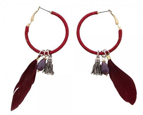 Ohr Stecker Rot, Rund mit Feder, Perle und silberfarbigen Anhänger