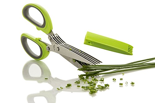 Review FreshCut Gourmet Herb Scissors Multipurpose Shears with 5 Stainless Steel Blades and Cover