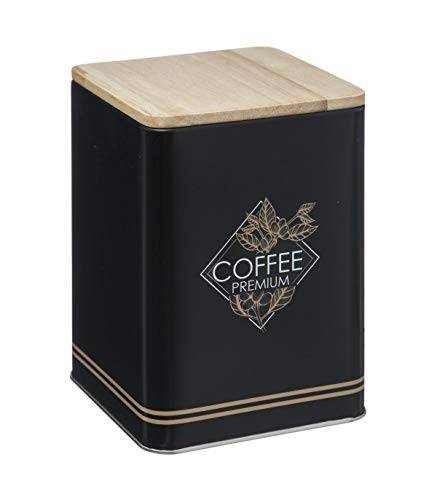 Boîte en métal avec couvercle en bois - Côté Café - 10 x 14,5 cm