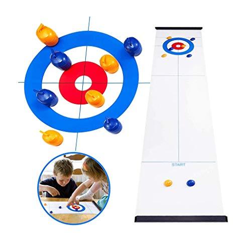 YYL Schnelles Sling Puck Spiel Tabletop Curling Familienspaß Brettspiele Shuffleboard Pucks mit 8 Rolllers Geschenken für Kinder und Erwachsene Travel Compact Storage