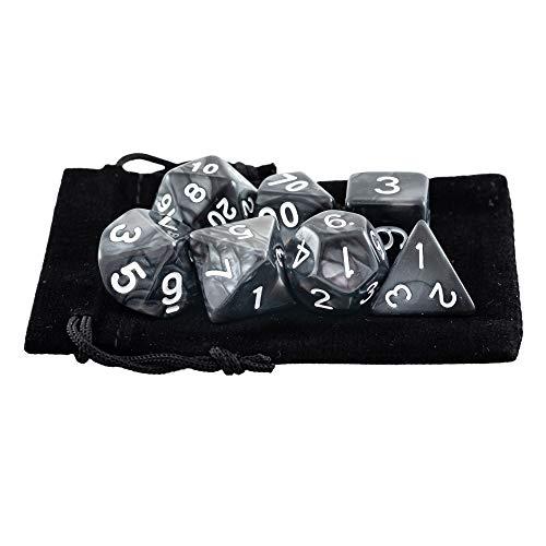 Kit 7 Dados RPG de Mesa D&D Opaco Perolado D4 D6 D8 D10 D10% D12 D20 Cor PRETO + 1 Bolsa