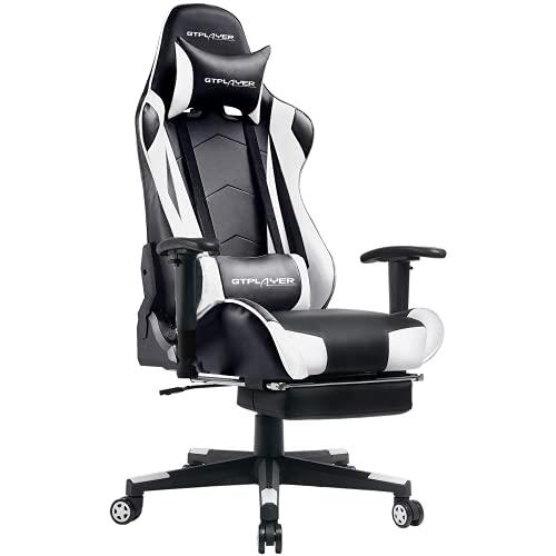 GTPLAYER Gaming Stuhl Bürostuhl Schreibtischstuhl Kunstleder Gamer Stuhl Drehstuhl höhenverstellbarer PC Stuhl Ergonomisches Design mit Fußstütze und Wippfunktion (White)