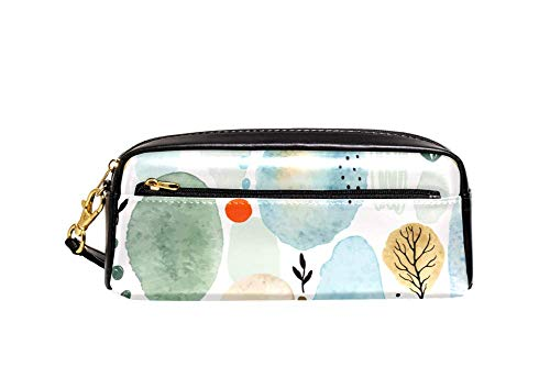 Lederen potlood Pen Bag Case Houder Grote Capaciteit met aquarel planten en stippen Ideaal voor School/College/Uni.- make-up tas