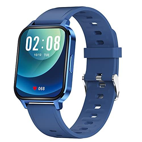 QFSLR Smartwatch, Reloj Inteligente Hombre Mujer con Monitor De Frecuencia Cardíaca Monitoreo De Oxígeno En Sangre Seguimiento del Sueño Control De Música para Android iOS,Azul