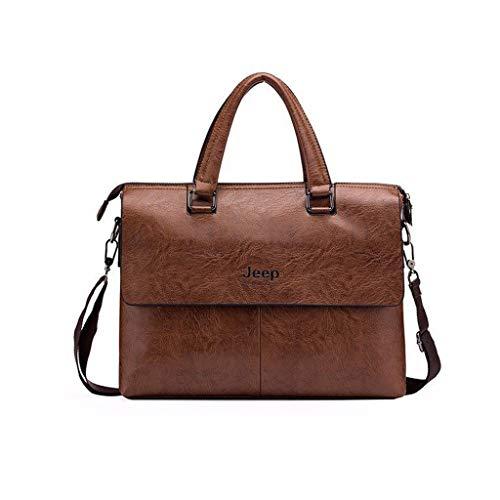MXueei Messenger Bag voor mannen, Aktetas volledige lederen laptoptas voor 14 inch vintage satchel schoudertas met afneembare riem