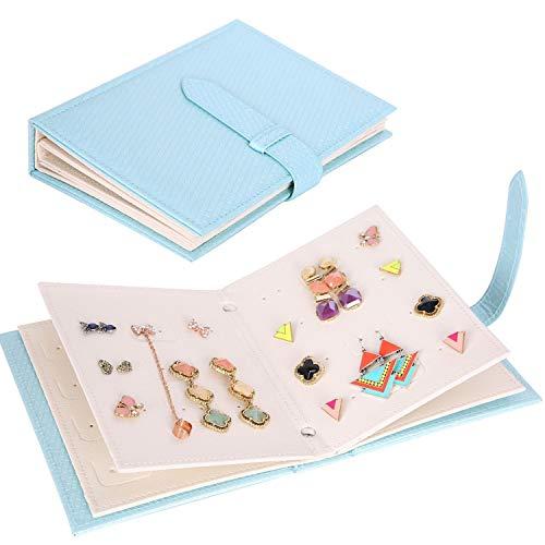 Yiluana Jewelry Organizer, Portable Earring Holder Pu Leather Travel Jewelry Organizer Case with Foldable Book Design (Blue)