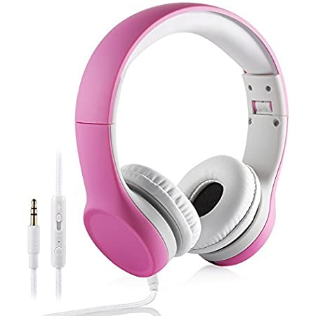 Kids Headphones with Volume Control,Yusonic Volume Limited and Audio Sharing Port,Play for School Boys Girls Children Toddlers Tablet Class(Pink