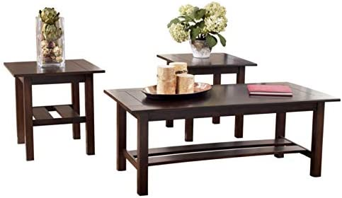 Best Signature Design by Ashley - Lewis Contemporary 3-Piece Table Set, Medium Brown