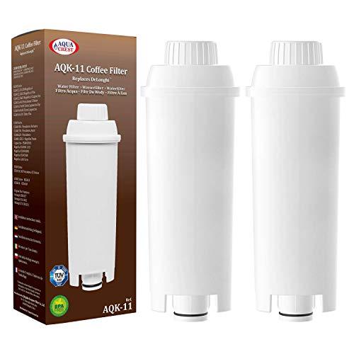 AQUACREST TÜV SÜD Certified DLS C002 Coffee Water Filter, Compatible with De'Longhi 5513292811, DLS C002, CFL-950, SER3017, ECAM/ESAM/ETAM Series, EC680, BCO420 (Pack of 2, Packing may vary)