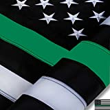 DANF Thin Green Line Flag 3x5 ft Made from Nylon - Embroidered Stars - Sewn Stripes - UV Protection Black White and Green American Police Flag for Law Enforcement Federal Agents Border Patrol